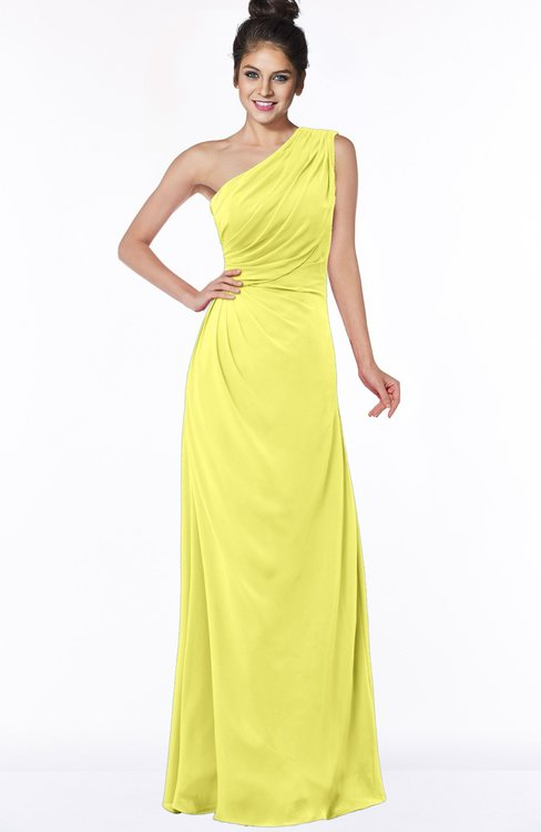 ColsBM Daniela Pale Yellow Glamorous A-line Sleeveless Zip up Chiffon Ruching Bridesmaid Dresses