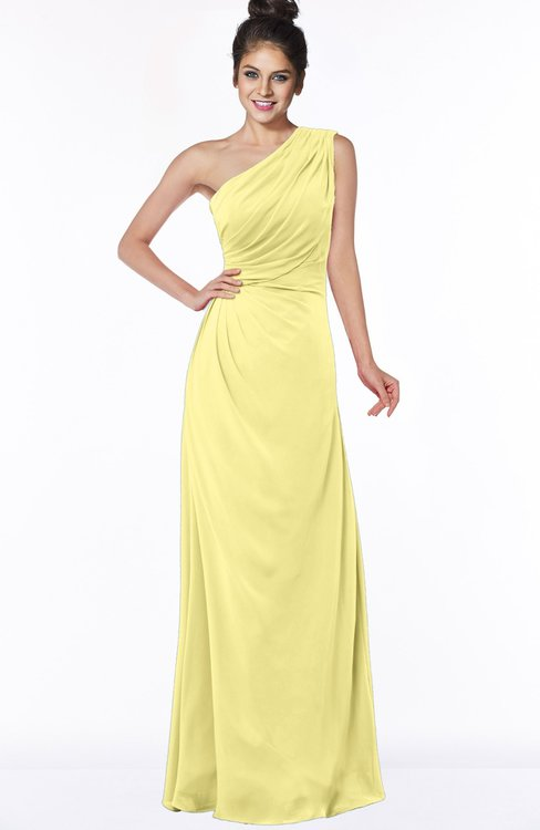 ColsBM Daniela Pastel Yellow Glamorous A-line Sleeveless Zip up Chiffon Ruching Bridesmaid Dresses