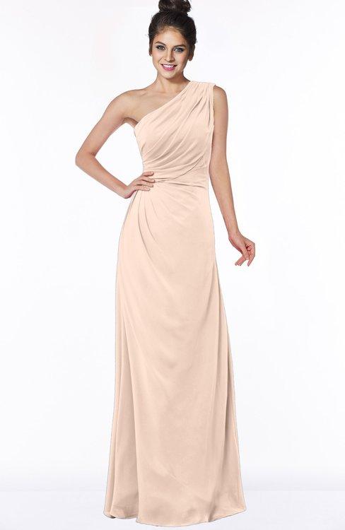 ColsBM Daniela Peach Puree Glamorous A-line Sleeveless Zip up Chiffon Ruching Bridesmaid Dresses