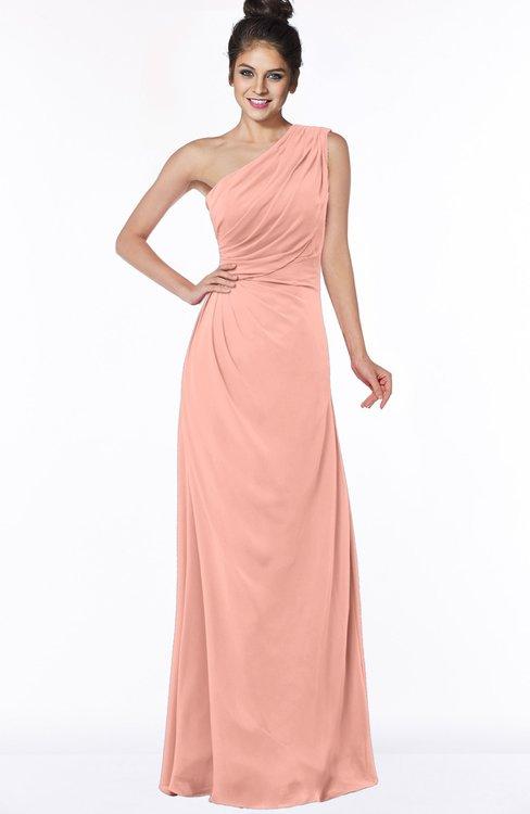 ColsBM Daniela Peach Glamorous A-line Sleeveless Zip up Chiffon Ruching Bridesmaid Dresses