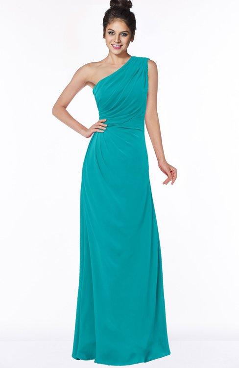 ColsBM Daniela Peacock Blue Glamorous A-line Sleeveless Zip up Chiffon Ruching Bridesmaid Dresses