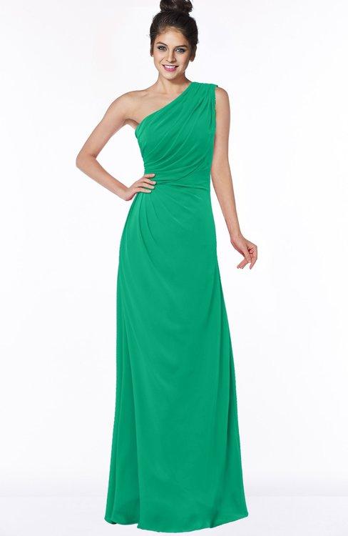 ColsBM Daniela Pepper Green Glamorous A-line Sleeveless Zip up Chiffon Ruching Bridesmaid Dresses