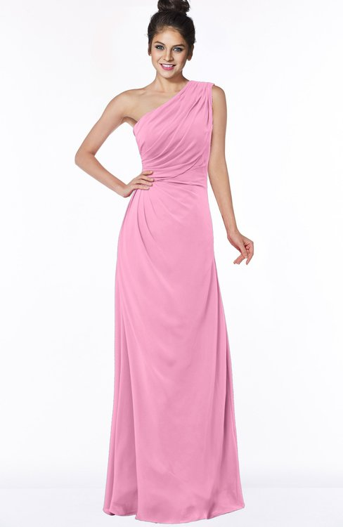 ColsBM Daniela Pink Glamorous A-line Sleeveless Zip up Chiffon Ruching Bridesmaid Dresses