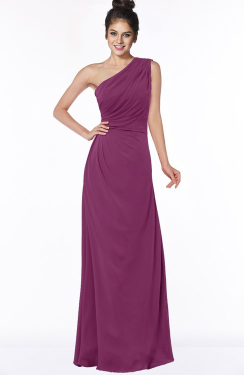 ColsBM Daniela Raspberry Glamorous A-line Sleeveless Zip up Chiffon Ruching Bridesmaid Dresses