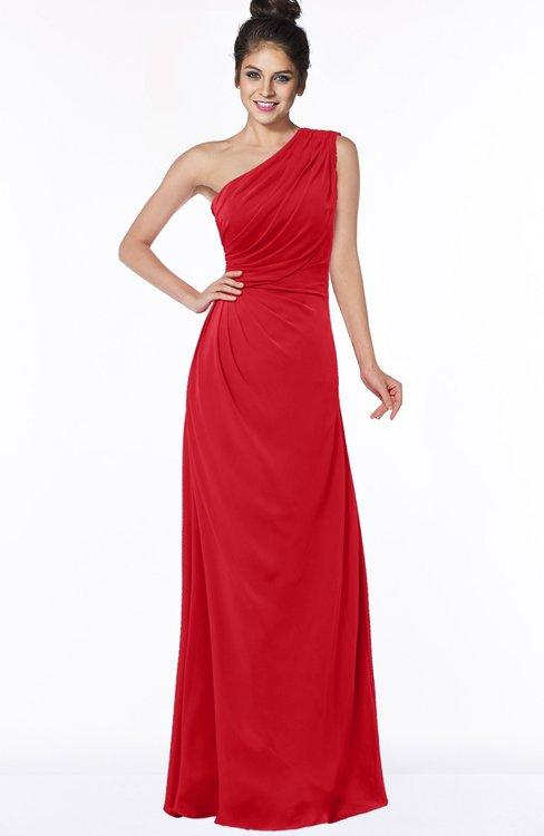 ColsBM Daniela Red Glamorous A-line Sleeveless Zip up Chiffon Ruching Bridesmaid Dresses