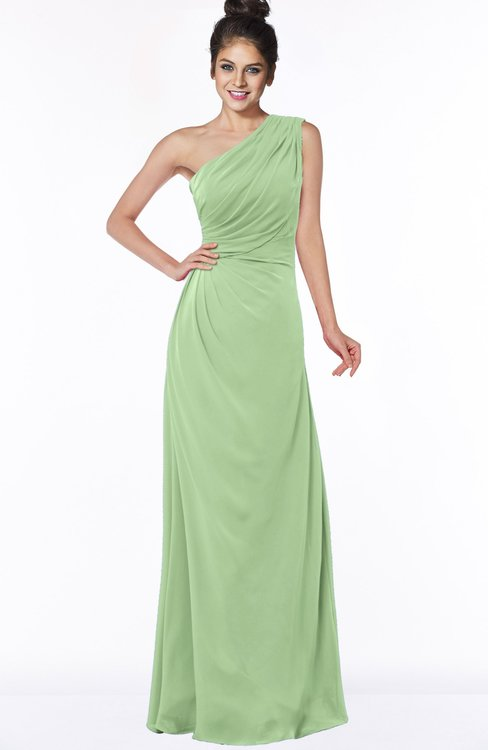 ColsBM Daniela Sage Green Glamorous A-line Sleeveless Zip up Chiffon Ruching Bridesmaid Dresses