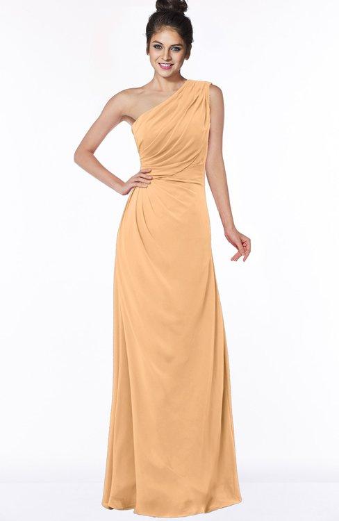 ColsBM Daniela Salmon Buff Glamorous A-line Sleeveless Zip up Chiffon Ruching Bridesmaid Dresses