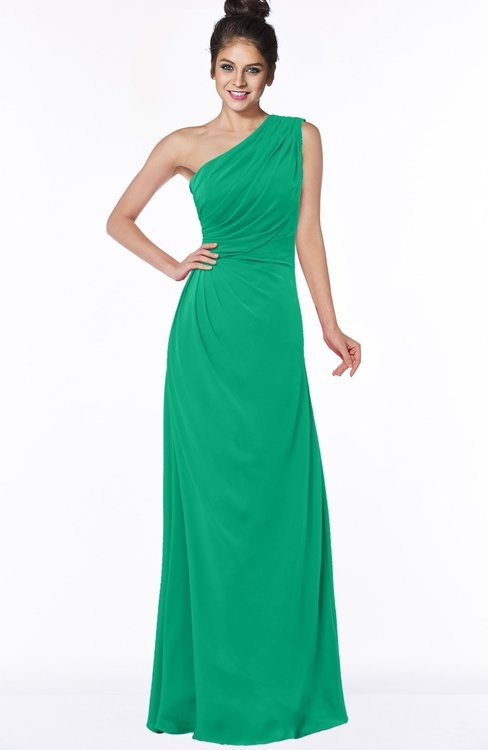 ColsBM Daniela Sea Green Glamorous A-line Sleeveless Zip up Chiffon Ruching Bridesmaid Dresses