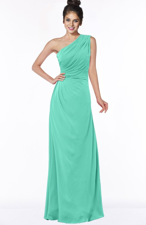ColsBM Daniela Seafoam Green Glamorous A-line Sleeveless Zip up Chiffon Ruching Bridesmaid Dresses