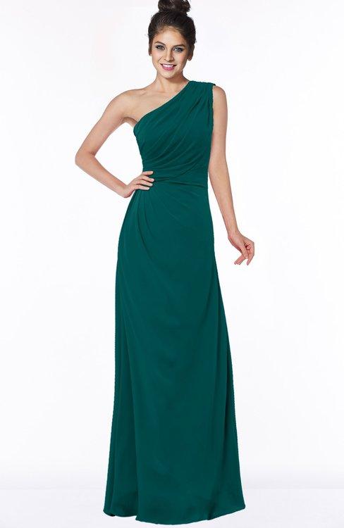 ColsBM Daniela Shaded Spruce Glamorous A-line Sleeveless Zip up Chiffon Ruching Bridesmaid Dresses