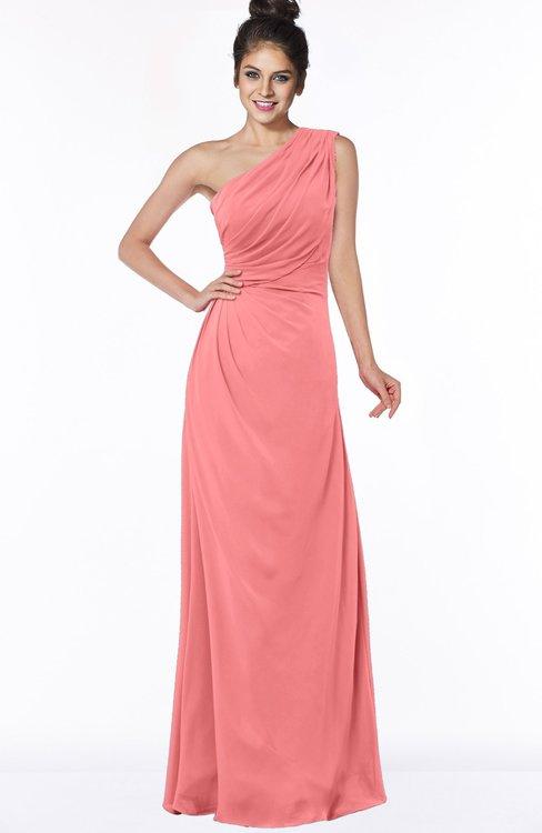 ColsBM Daniela Shell Pink Glamorous A-line Sleeveless Zip up Chiffon Ruching Bridesmaid Dresses