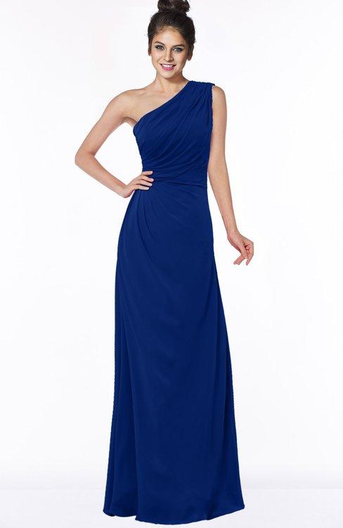 ColsBM Daniela Sodalite Blue Glamorous A-line Sleeveless Zip up Chiffon Ruching Bridesmaid Dresses