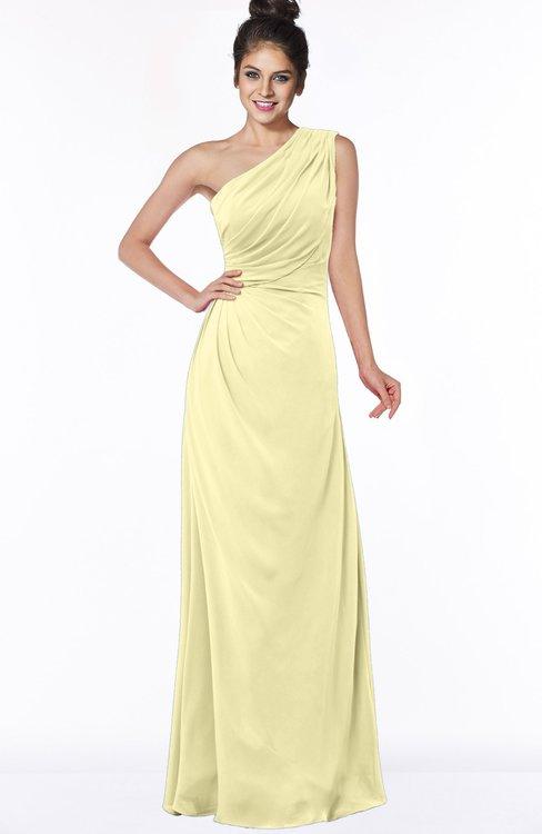 ColsBM Daniela Soft Yellow Glamorous A-line Sleeveless Zip up Chiffon Ruching Bridesmaid Dresses