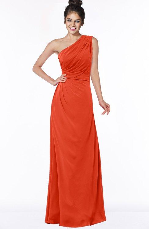 ColsBM Daniela Tangerine Tango Glamorous A-line Sleeveless Zip up Chiffon Ruching Bridesmaid Dresses