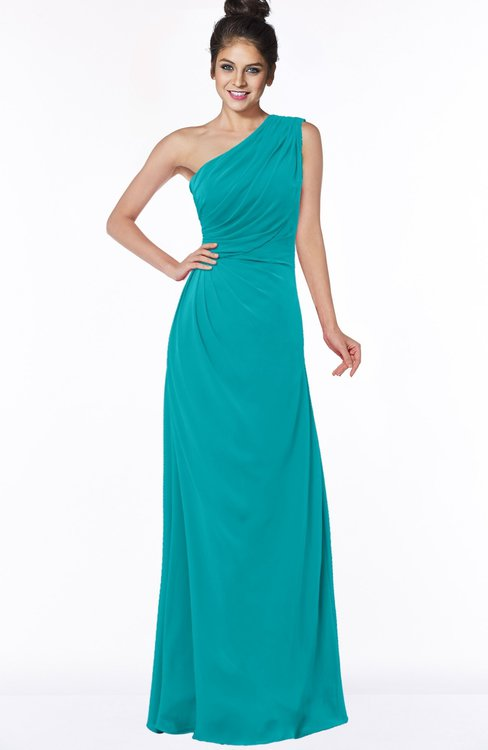ColsBM Daniela Teal Glamorous A-line Sleeveless Zip up Chiffon Ruching Bridesmaid Dresses