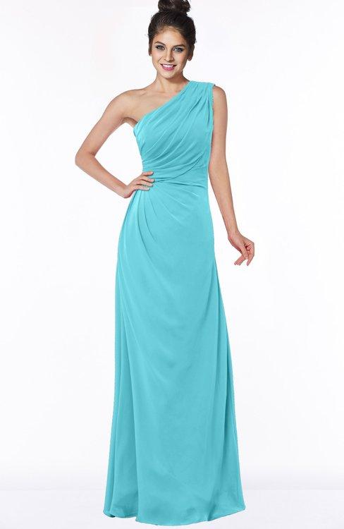ColsBM Daniela Turquoise Glamorous A-line Sleeveless Zip up Chiffon Ruching Bridesmaid Dresses