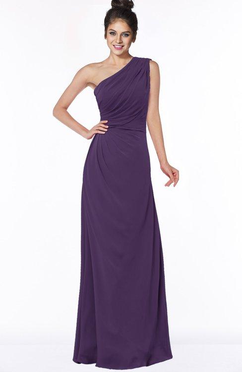 ColsBM Daniela Violet Glamorous A-line Sleeveless Zip up Chiffon Ruching Bridesmaid Dresses