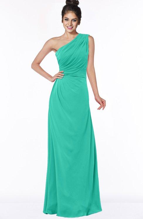 ColsBM Daniela Viridian Green Glamorous A-line Sleeveless Zip up Chiffon Ruching Bridesmaid Dresses
