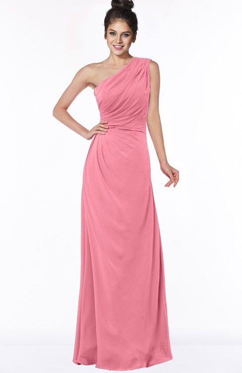 ColsBM Daniela Watermelon Glamorous A-line Sleeveless Zip up Chiffon Ruching Bridesmaid Dresses