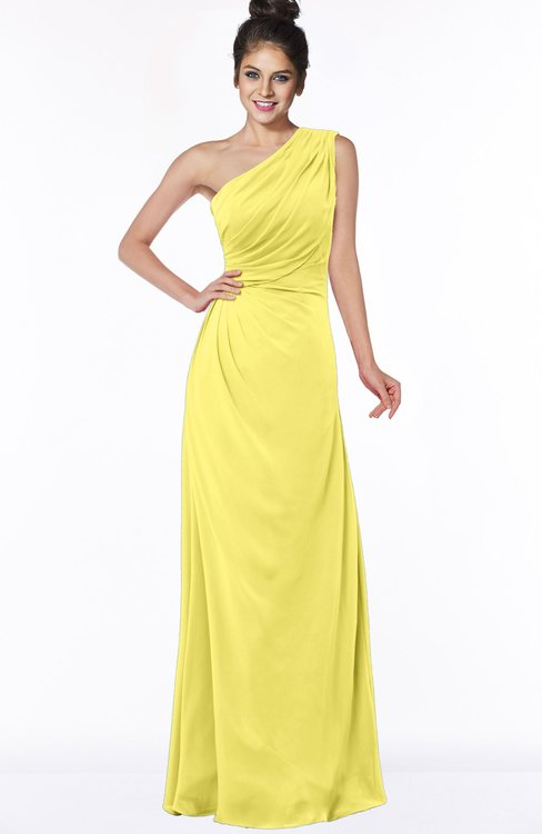 ColsBM Daniela Yellow Iris Glamorous A-line Sleeveless Zip up Chiffon Ruching Bridesmaid Dresses