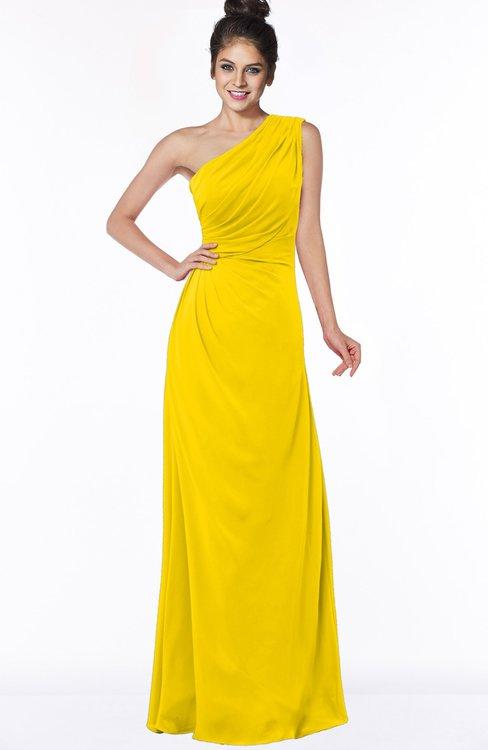 ColsBM Daniela Yellow Glamorous A-line Sleeveless Zip up Chiffon Ruching Bridesmaid Dresses