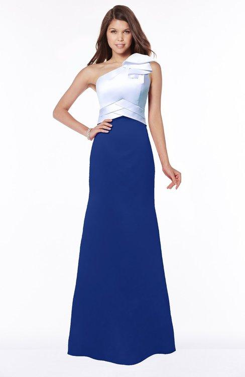 ColsBM Ariella Nautical Blue Modest Fishtail One Shoulder Sleeveless Satin Sweep Train Bridesmaid Dresses