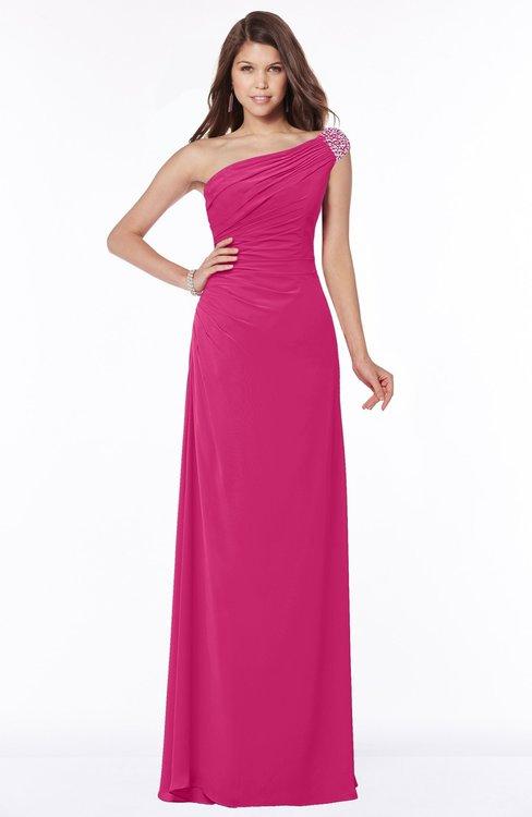 ColsBM Eliana Beetroot Purple Glamorous A-line Short Sleeve Zip up Chiffon Floor Length Bridesmaid Dresses