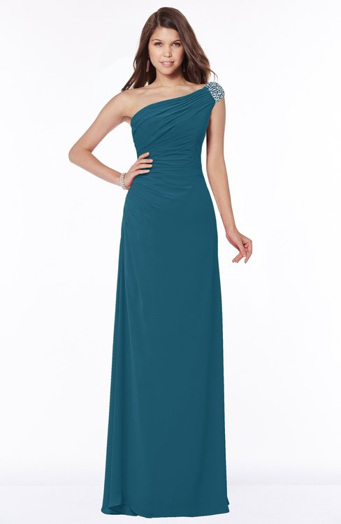 ColsBM Eliana Moroccan Blue Glamorous A-line Short Sleeve Zip up Chiffon Floor Length Bridesmaid Dresses