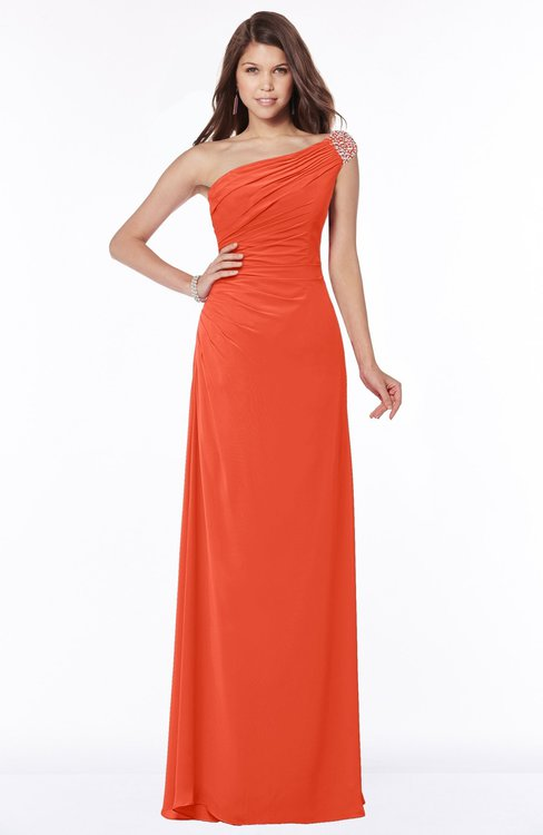 ColsBM Eliana Tangerine Tango Glamorous A-line Short Sleeve Zip up Chiffon Floor Length Bridesmaid Dresses