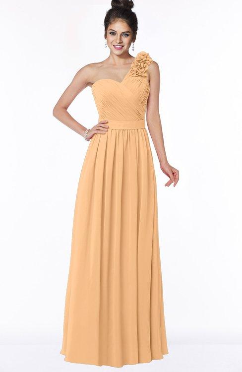 ColsBM Elisa Apricot Simple A-line One Shoulder Half Backless Chiffon Flower Bridesmaid Dresses