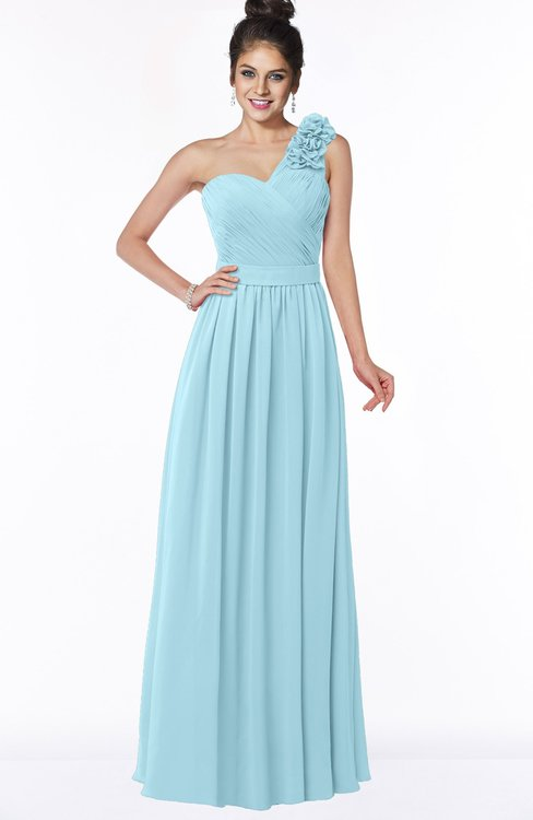 ColsBM Elisa Aqua Simple A-line One Shoulder Half Backless Chiffon Flower Bridesmaid Dresses