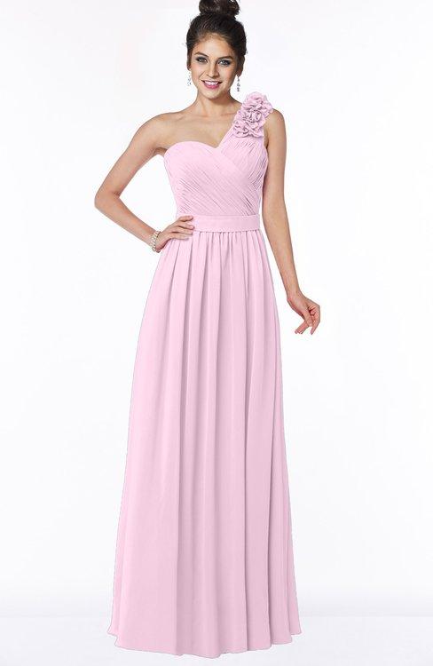 ColsBM Elisa Baby Pink Simple A-line One Shoulder Half Backless Chiffon Flower Bridesmaid Dresses