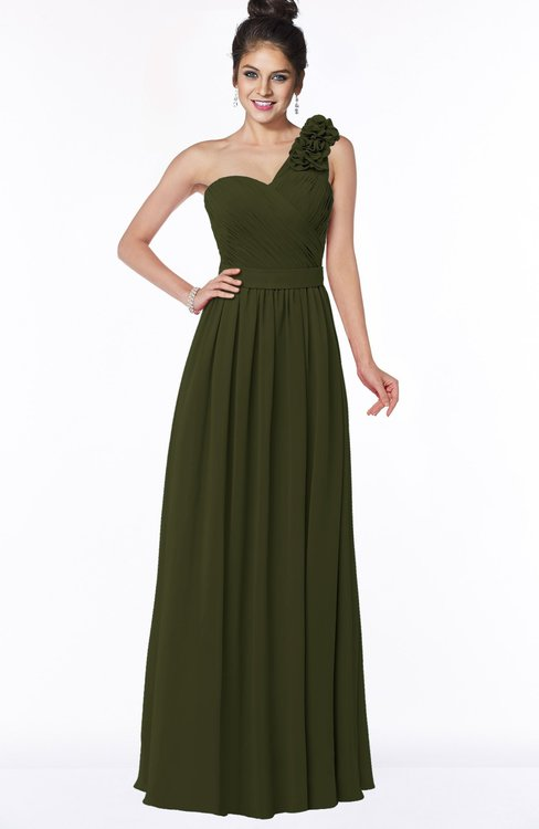 ColsBM Elisa Beech Simple A-line One Shoulder Half Backless Chiffon Flower Bridesmaid Dresses