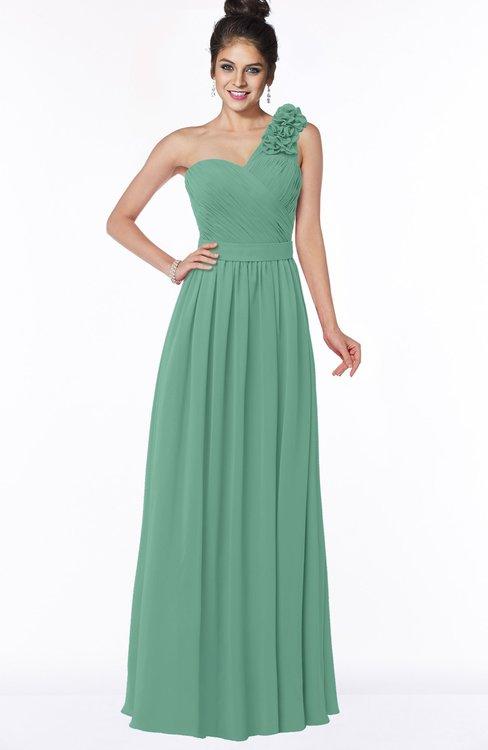 ColsBM Elisa Beryl Green Simple A-line One Shoulder Half Backless Chiffon Flower Bridesmaid Dresses