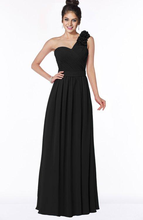 ColsBM Elisa Black Simple A-line One Shoulder Half Backless Chiffon Flower Bridesmaid Dresses