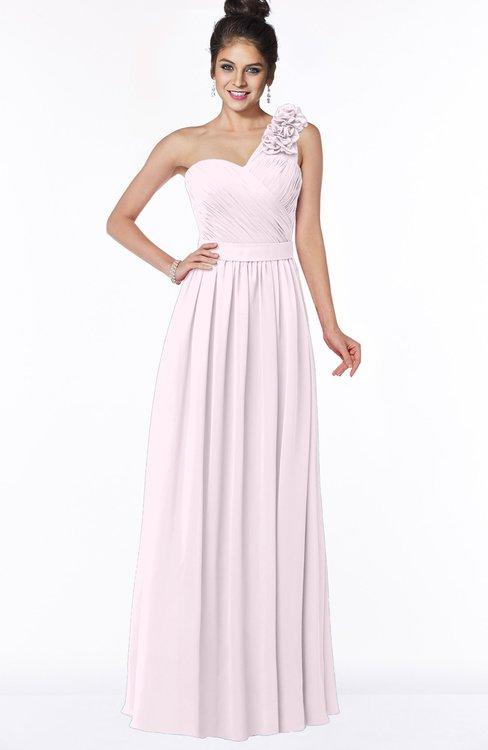 ColsBM Elisa Blush Simple A-line One Shoulder Half Backless Chiffon Flower Bridesmaid Dresses