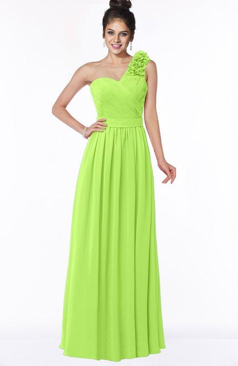 ColsBM Elisa Bright Green Simple A-line One Shoulder Half Backless Chiffon Flower Bridesmaid Dresses