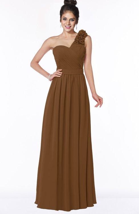ColsBM Elisa Brown Simple A-line One Shoulder Half Backless Chiffon Flower Bridesmaid Dresses