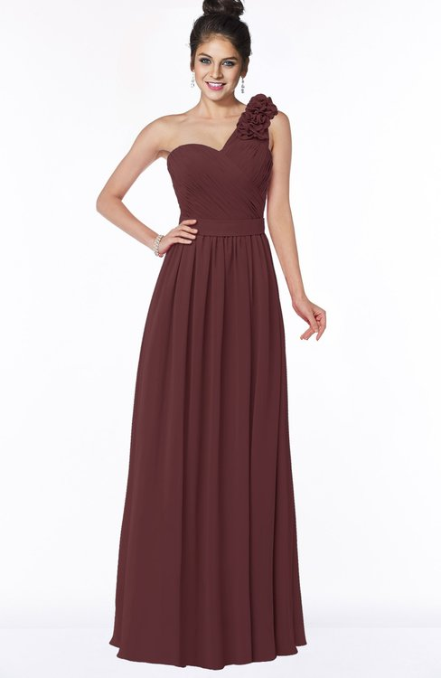 ColsBM Elisa Burgundy Simple A-line One Shoulder Half Backless Chiffon Flower Bridesmaid Dresses
