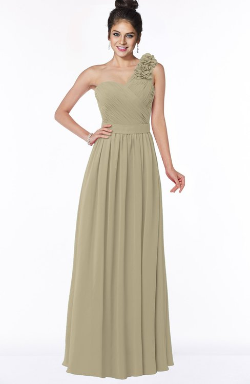 ColsBM Elisa Candied Ginger Simple A-line One Shoulder Half Backless Chiffon Flower Bridesmaid Dresses