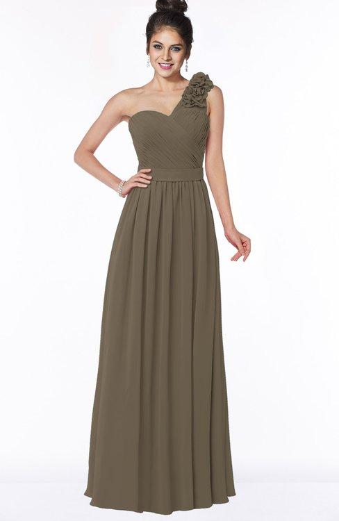 ColsBM Elisa Carafe Brown Simple A-line One Shoulder Half Backless Chiffon Flower Bridesmaid Dresses