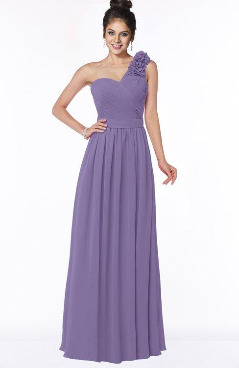 ColsBM Elisa Chalk Violet Simple A-line One Shoulder Half Backless Chiffon Flower Bridesmaid Dresses