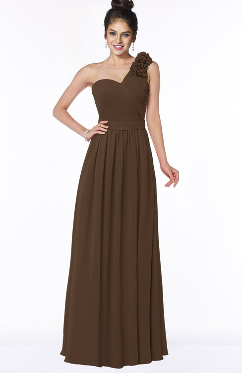 ColsBM Elisa Chocolate Brown Simple A-line One Shoulder Half Backless Chiffon Flower Bridesmaid Dresses