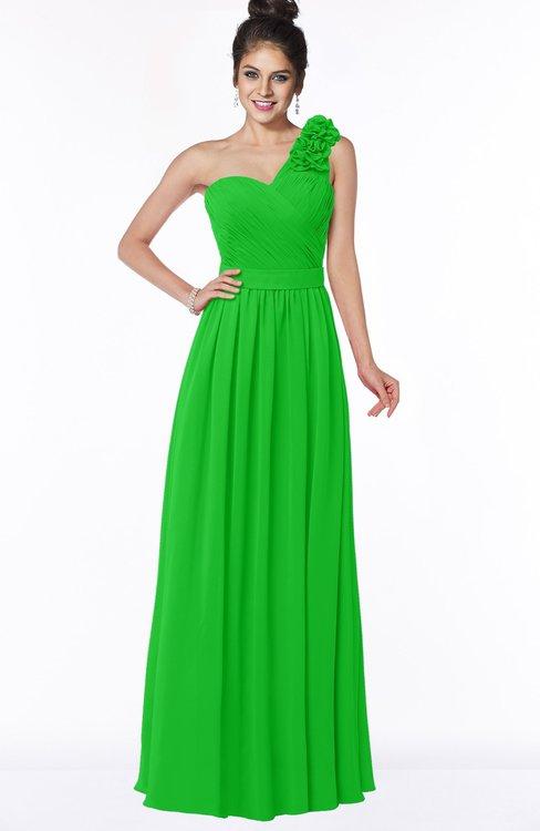 ColsBM Elisa Classic Green Simple A-line One Shoulder Half Backless Chiffon Flower Bridesmaid Dresses