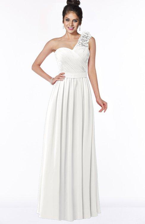ColsBM Elisa Cloud White Simple A-line One Shoulder Half Backless Chiffon Flower Bridesmaid Dresses