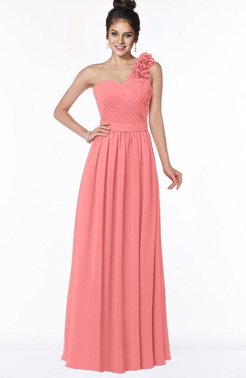 ColsBM Elisa Coral Simple A-line One Shoulder Half Backless Chiffon Flower Bridesmaid Dresses