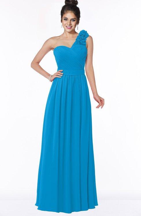 ColsBM Elisa Cornflower Blue Simple A-line One Shoulder Half Backless Chiffon Flower Bridesmaid Dresses