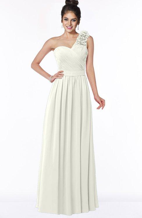 ColsBM Elisa Cream Simple A-line One Shoulder Half Backless Chiffon Flower Bridesmaid Dresses