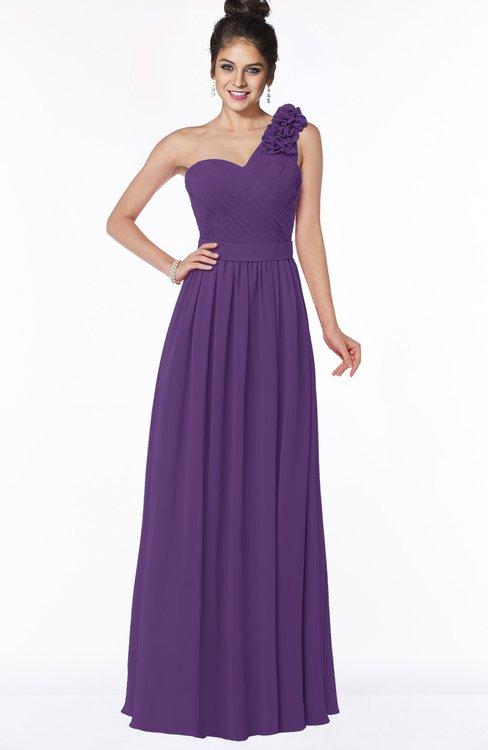 ColsBM Elisa Dark Purple Simple A-line One Shoulder Half Backless Chiffon Flower Bridesmaid Dresses