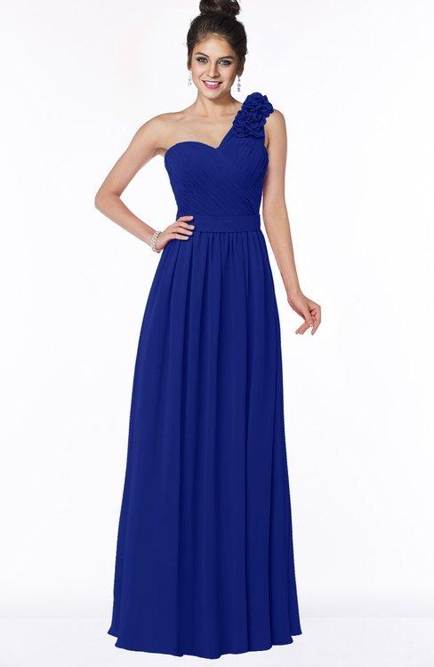 ColsBM Elisa Electric Blue Simple A-line One Shoulder Half Backless Chiffon Flower Bridesmaid Dresses